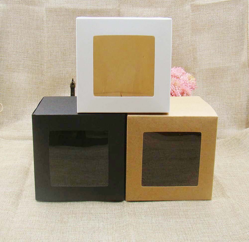 7*7*7cm 3color White/black/kraft Stock Paper Box With Clear Pvc Window .favors Display /gifts&crafts Paper Window Packing Box