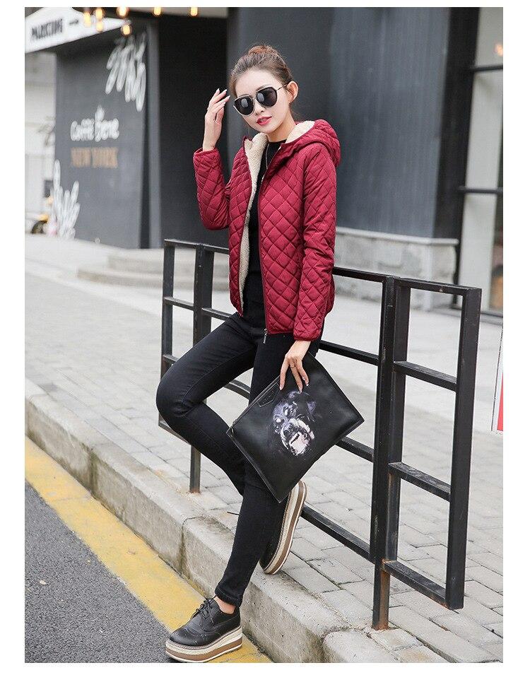 Autumn 2019 New Parkas basic jackets Female Women Winter plus velvet lamb hooded Coats Cotton Winter Jacket Womens Outwear coat 16