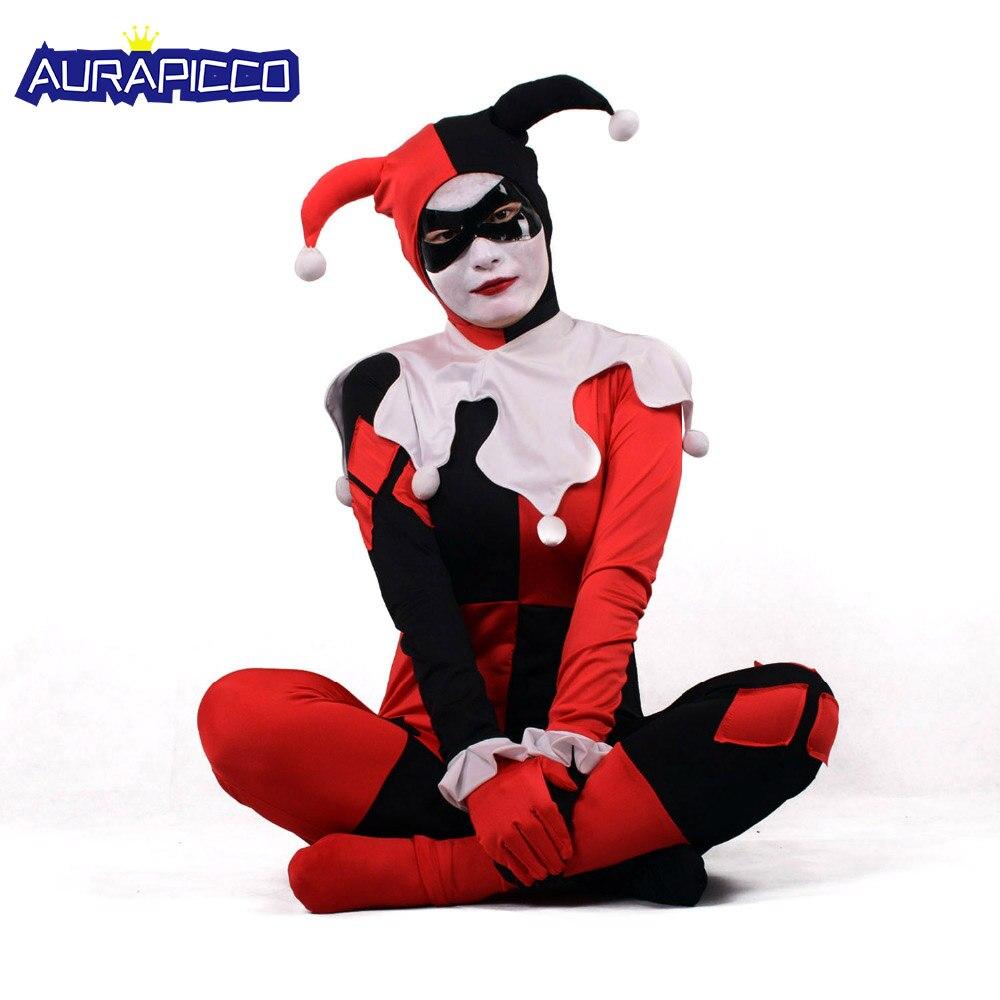 harley quinn kostum frauen erwachsene sexy superheld clown cosplay spandex voller bodysuit party halloween kostume fur frauen maske