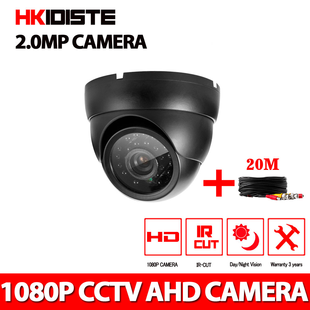 HD 1080P Dome AHD Camera 2MP CCD Security Video HD Analog Camera Night Vision IR 20M CCTV Camera and 20m cable For 1080P AHD DVR hd 1080p video surveillance camera 2mega pixel ahd security camera ir infrared 20m night vision dome cctv camera