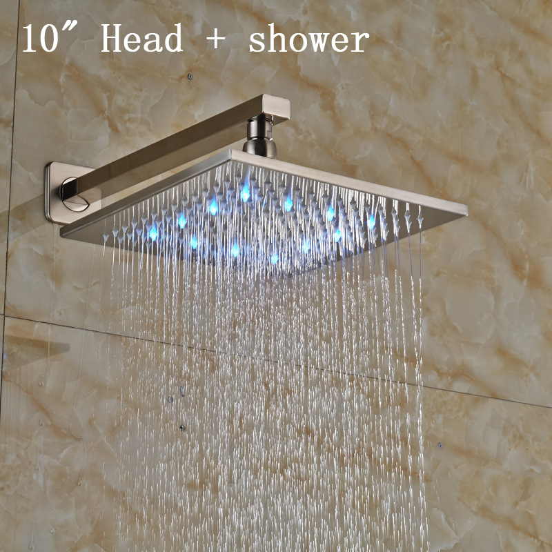 Brushed Nickel LED Light Showerhead 10 Inch Stainless Steel Rainfall Shower  Head with Shower Arm Online Get Cheap Square Shower Head 10 Inch  Aliexpress com  . 10 Inch Rain Shower Head. Home Design Ideas