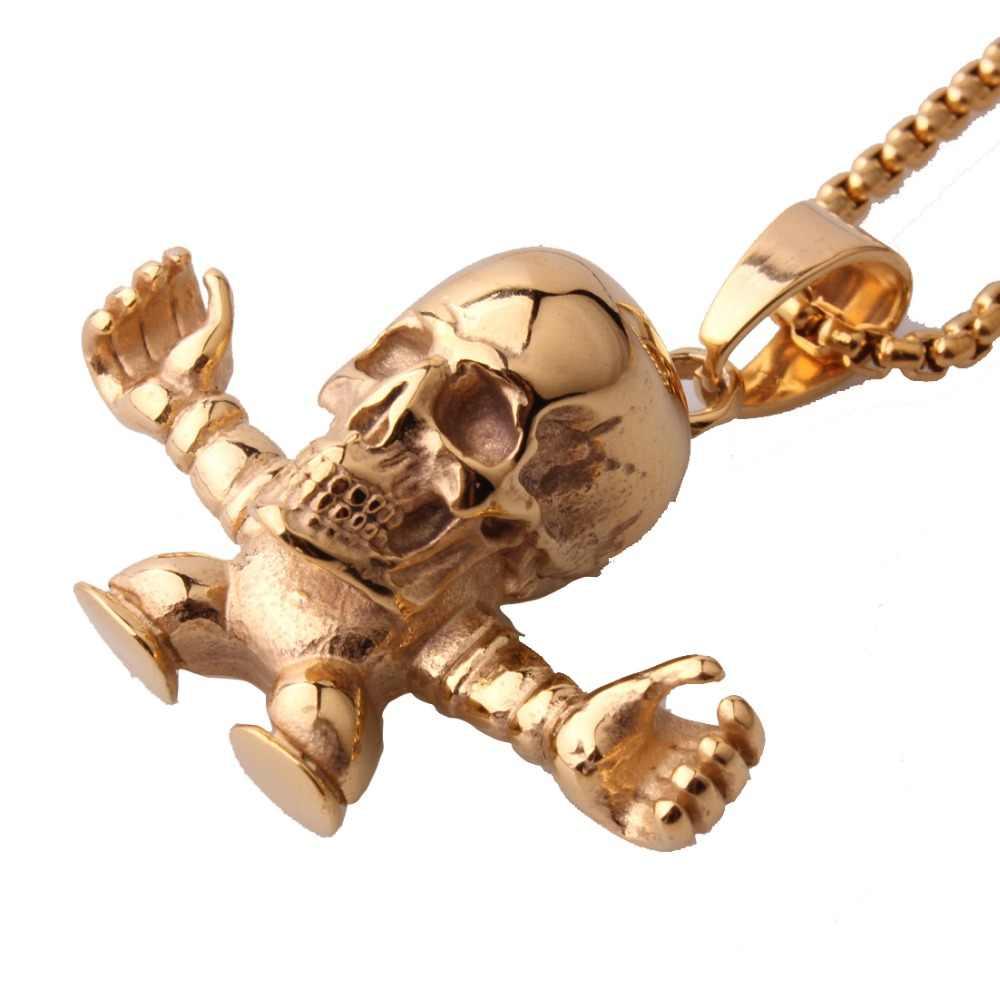 Фото Лидер продаж Нержавеющаясталь Звено Золотой Винтаж скелет череп мужские