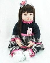 NPK 22INCH Silicone Doll Reborn Bebe Doll Kids Toys Girls Boneca Bebe Reborn Corpo Inteiro De Silicone Toys For Children Girls
