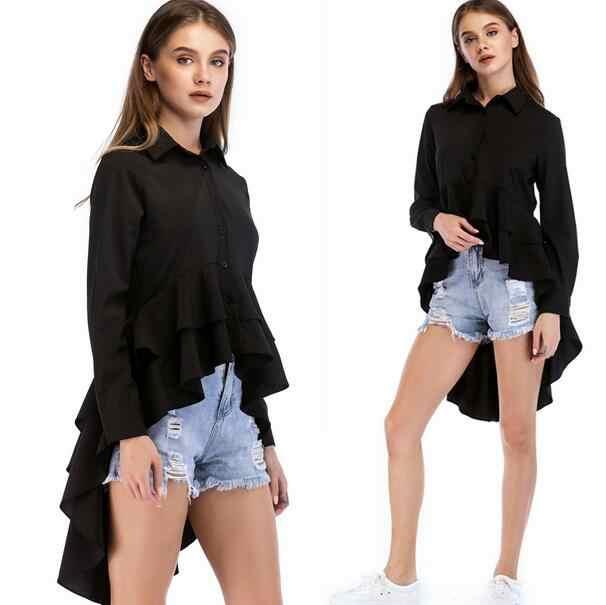 Chemise à volants noir en cascade femmes 2018 printemps automne haut à revers femme manches longues Vintage haut bas Blouse DW27