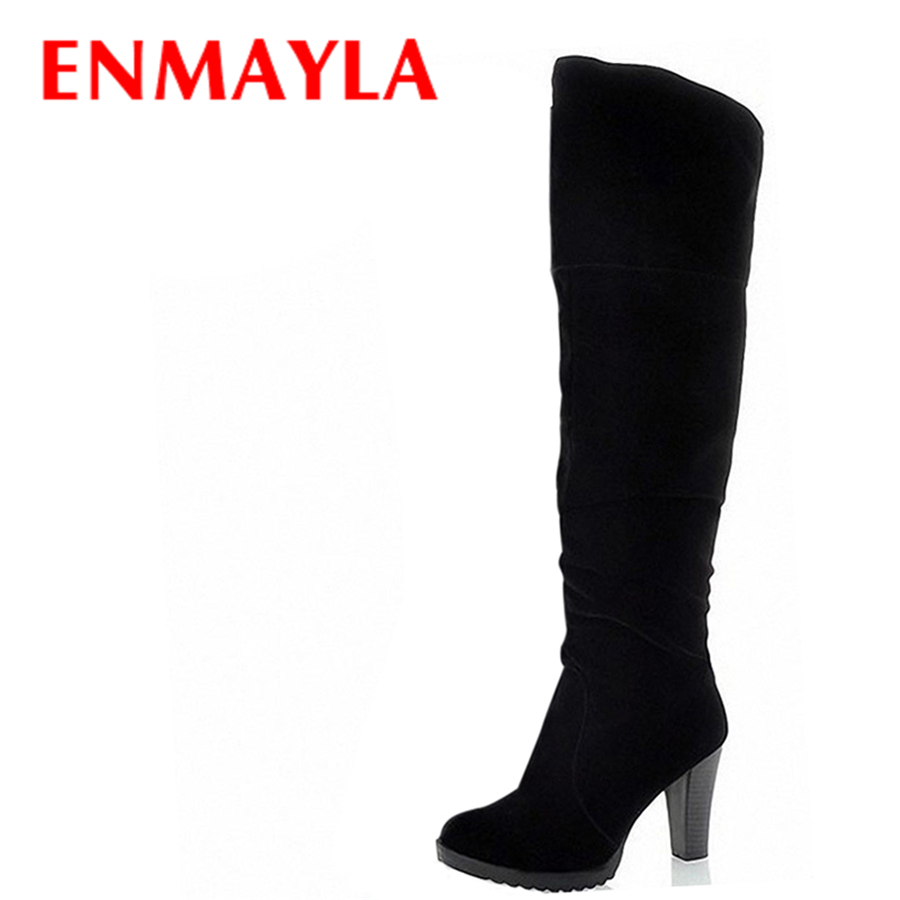 ENMAYLA Fashion High Heels Long Boots Women Winter Ladies Shoes Black Brown Flock Over Knee Boots Size 34-41 enmayla winter autumn high heels lace up knee high boots women shoes sewing green brown black knigh long boots