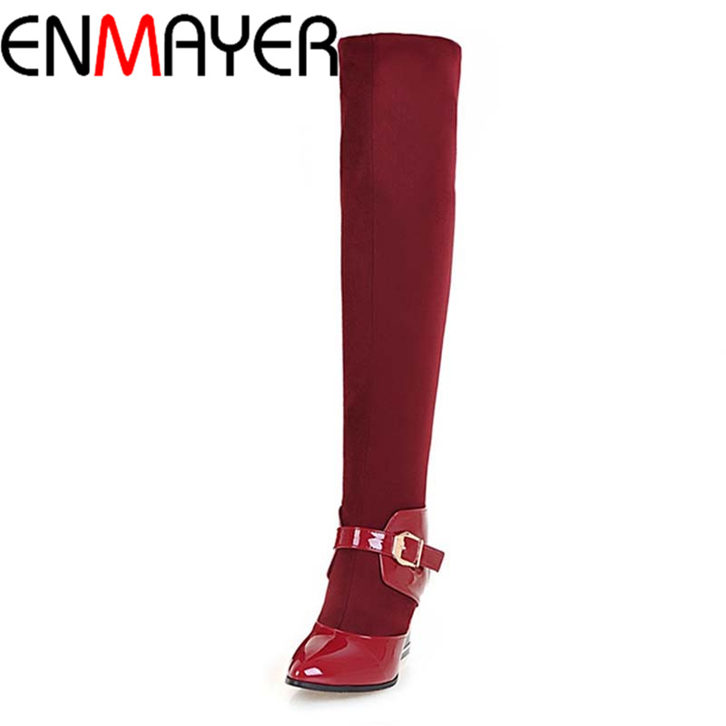 ENMAYER New Fashion Style Warm Winter Boots for Women Over-the Knee Round Toe Square High Heels Poitnted Toe Fashion Lady Shoes enmayer over the knee boots shoes new pu knitting square heel high boots warm snow long boots red brown black knight boots