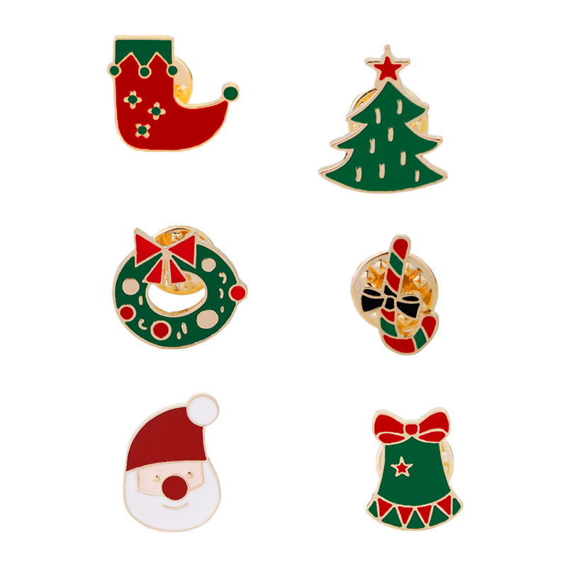 6Pcs Enamel Christmas Tree Elk Snowman Santa Claus Brooch Pin Jewelry Gift  Fashion Classic  Jewelry Classic Props