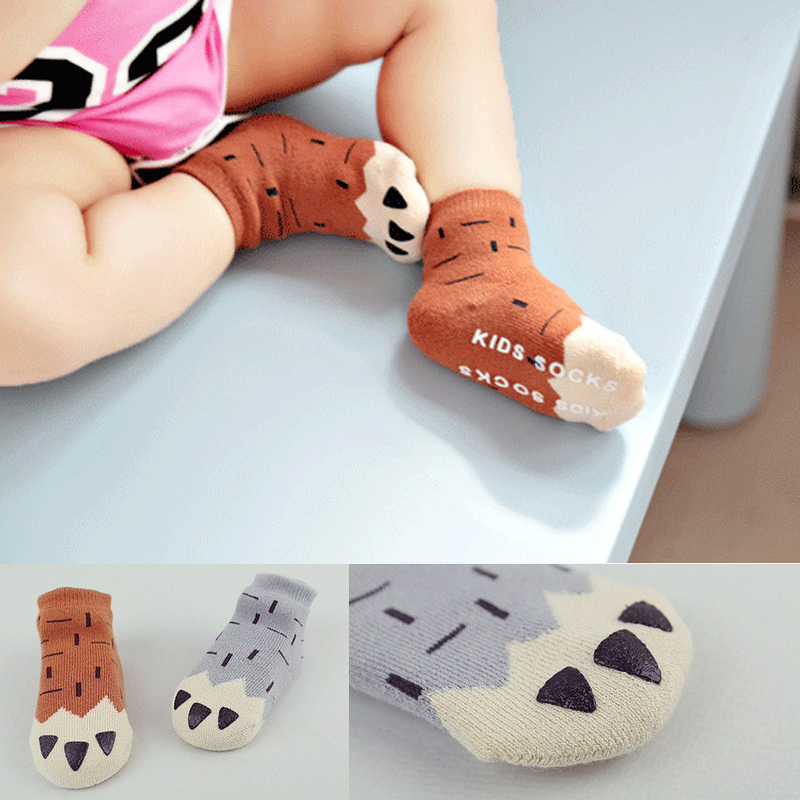 Cartoon Claw Short Socks Toddler Thicken Terry Warm Socks Baby Boys Girls Soft Cotton Anti-slip Autumn Winter Socks DS39