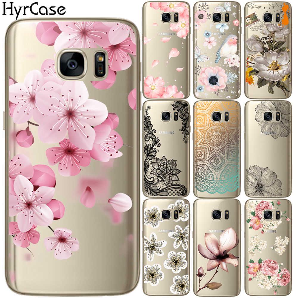 Sexy floral padrão macio tpu telefone volta caso capa para samsung galaxy s5 mini s6 s7 borda s8 s9 s10 plus 10e flor silicone coque