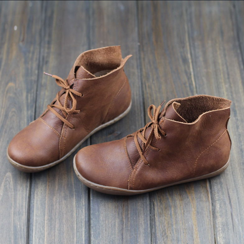 GYKZ Women Ankle Boots Hand-made Genuine Leather Woman Boots Spring Autumn Square Toe lace up Shoes Female Footwear front lace up casual ankle boots autumn vintage brown new booties flat genuine leather suede shoes round toe fall female fashion