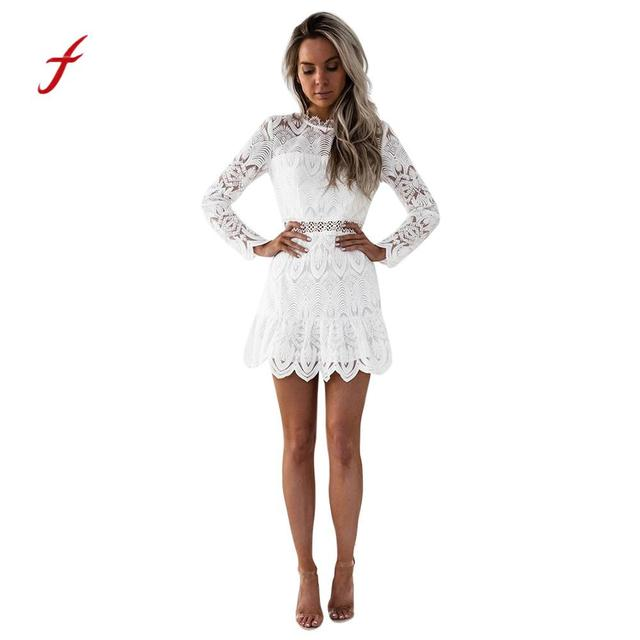 feitong USPS New Women Women s Lace Long Sleeve Party Cocktail Party Mini Dress  dress female robe sukienka 4dffb21e66c5