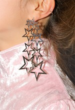 New Fashion Long Earrings Gold Silver Alloy Hollow Multiple Five-pointed Star Dangle Drop Earrings Women Jewelry