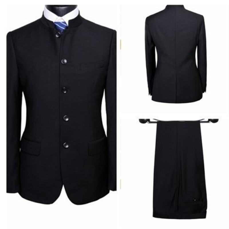 new men's suits Chinese Style Black Wedding Suits Groom Groomsmen Tuxedos Formal Business Suits Custom tops and pants