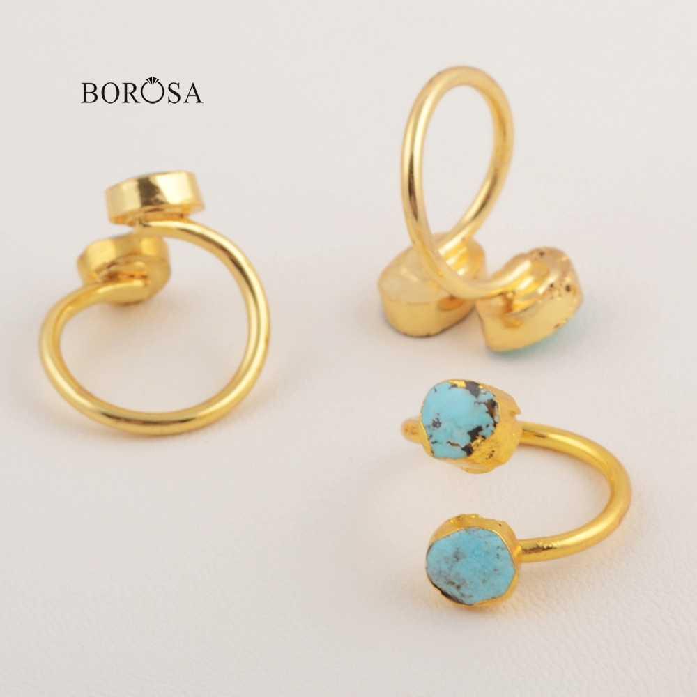 BOROSA สวยธรรมชาติ Turquoises แหวนห่อ Freeform ของแท้สีฟ้าแหวนหินอัญมณีเครื่องประดับ CL209