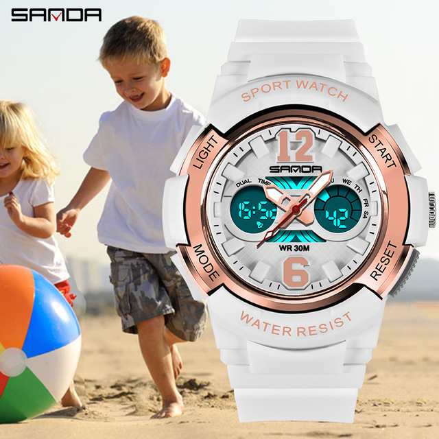 SANDA Fashion Casual Children Watches 30M Waterproof Quartz Wristwatches Sports