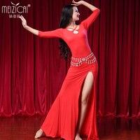 Lady Belly Dancing Dress Dress High Elastic Belly Dance Skirt Girls Dancing Practice Dress Modle Long Sleeved Suit D 0722