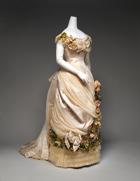 1880s Late Victorian Bustle French Silk  Theater Dress Wedding