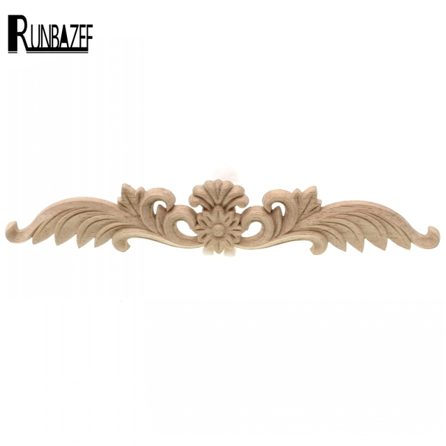 RUNBAZEF European Style Wood Door Decals Furniture Decorative Applique Flower Long Pass Corner  Mini Crossbow Home Decoration 1