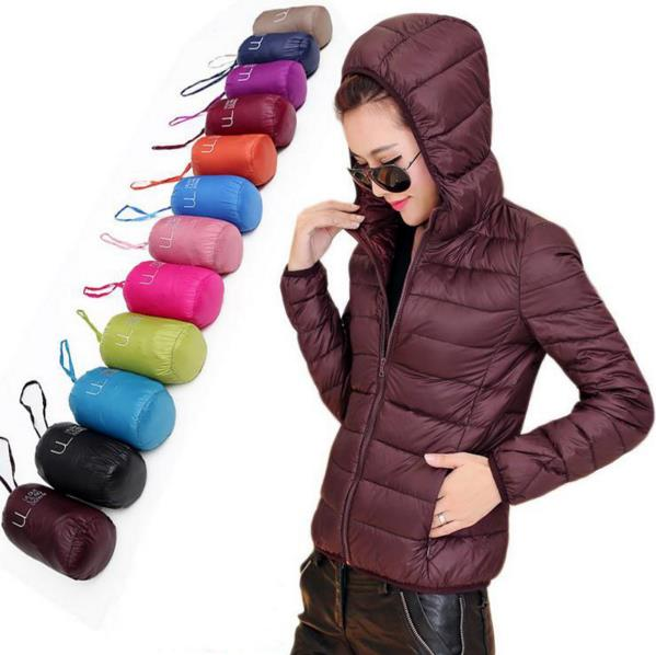 HOT 2016 Winter Women Ultra Light Down Jacket 90% Duck Down Hooded Jackets Long Sleeve Warm Slim Coat Parka Female Solid Outwear от Aliexpress INT