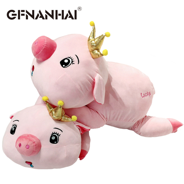 1 pc 45 cm preguiçoso bonito coroa porco brinquedo de pelúcia abrir e fechar olhos Babando sorte porco de pelúcia travesseiro de pelúcia macia brinquedos do bebê aniversário presente