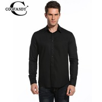 COOFANDY Men Casual Shirts Slim Fit Long Sleeve Cotton Linen Shirts For Mens Button Down Solid