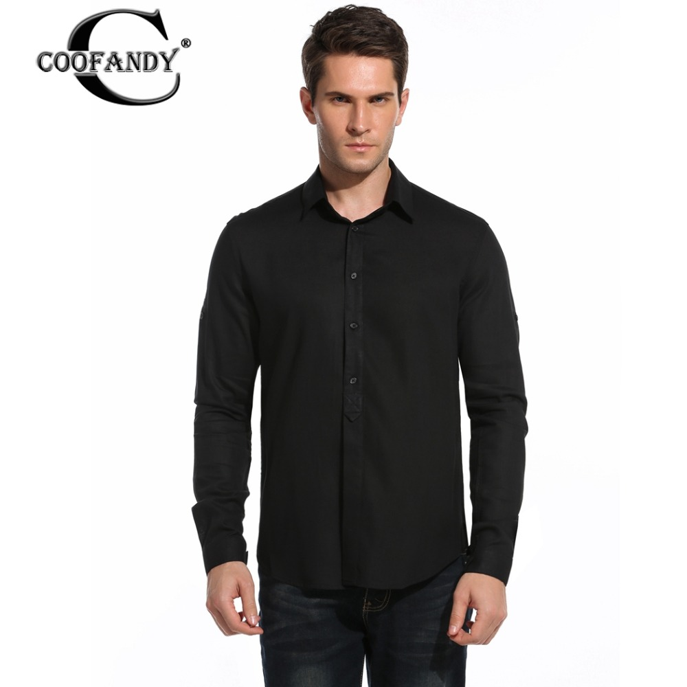 Coofandy men casual shirts slim fit long sleeve cotton for Cotton button down shirts men