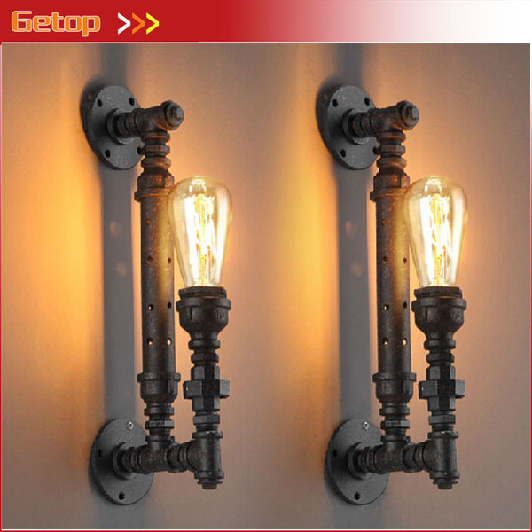 Best Price 1pcs Industrial Rustic Steampunk METAL PIPE Edison Bulb Vintage Wall Lamps Balcony with E27 bulb Rust wall sconce