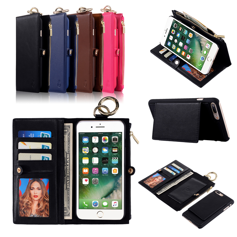For Apple iPhone 7 8 Plus X Xs Xr 6 6s case Luxury Wallet Case stand Magnet Zipper Cover Genuine Leather Handbag Bag Phone Case