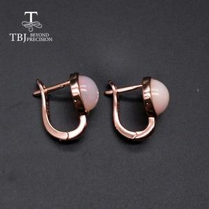 Image 4 - TBJ,925 ayar gümüş gül rengi küçük toka nokta küpe doğal renkli opal taş basit stil takı kızlar için