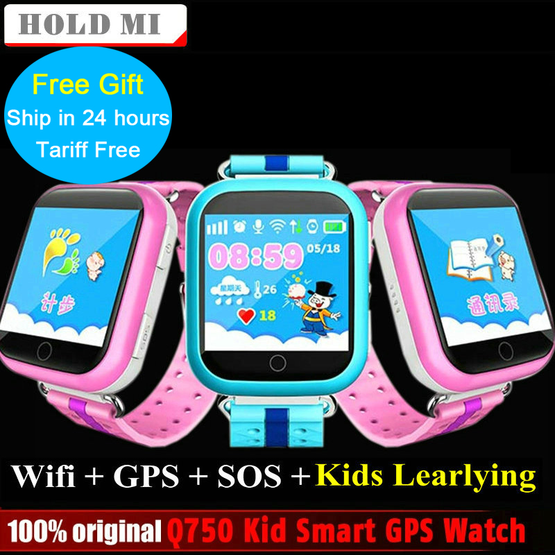 Hold Mi GPS Smart Watch Q750 Q100 Baby GPS Smart Watch With Touch Screen SOS Call Location Device Tracker for Kid Safe PK Q80 smart baby watch каркам q60 голубые
