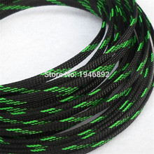 1/10/100 Meters Black & Green High quality 4mm Braided PET Expandable Sleeving Density Sheathing Plaited Cable Sleeves