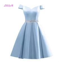 Elegant Off Shoulder Satin Short Homecoming Dresses Real Photos A Line Cheap Mini Cocktail Party Gowns vestidos de festa curto