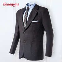 Hanayome 2018 גריי גברים סינגלים-חזה שני אבזם אפור מעיל הבלייזר חליפה סיבתי אופנה מעיל בסגנון אדון SI70