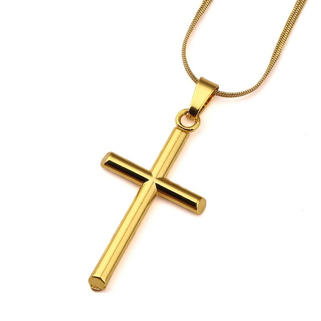 d490f60393b8 Mens Fashion Charm Cross Pendant Choker Collar Necklace Gold Color Link  Chain Punk Style Men Jewelry Necklace For Men Gift