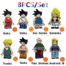 8 pçs/lote PG8166 ly Gotenks Goku Dragon Ball Son Goten Trunks Tien Shinhan Android 18 Building Blocks Brinquedos para Crianças(China)