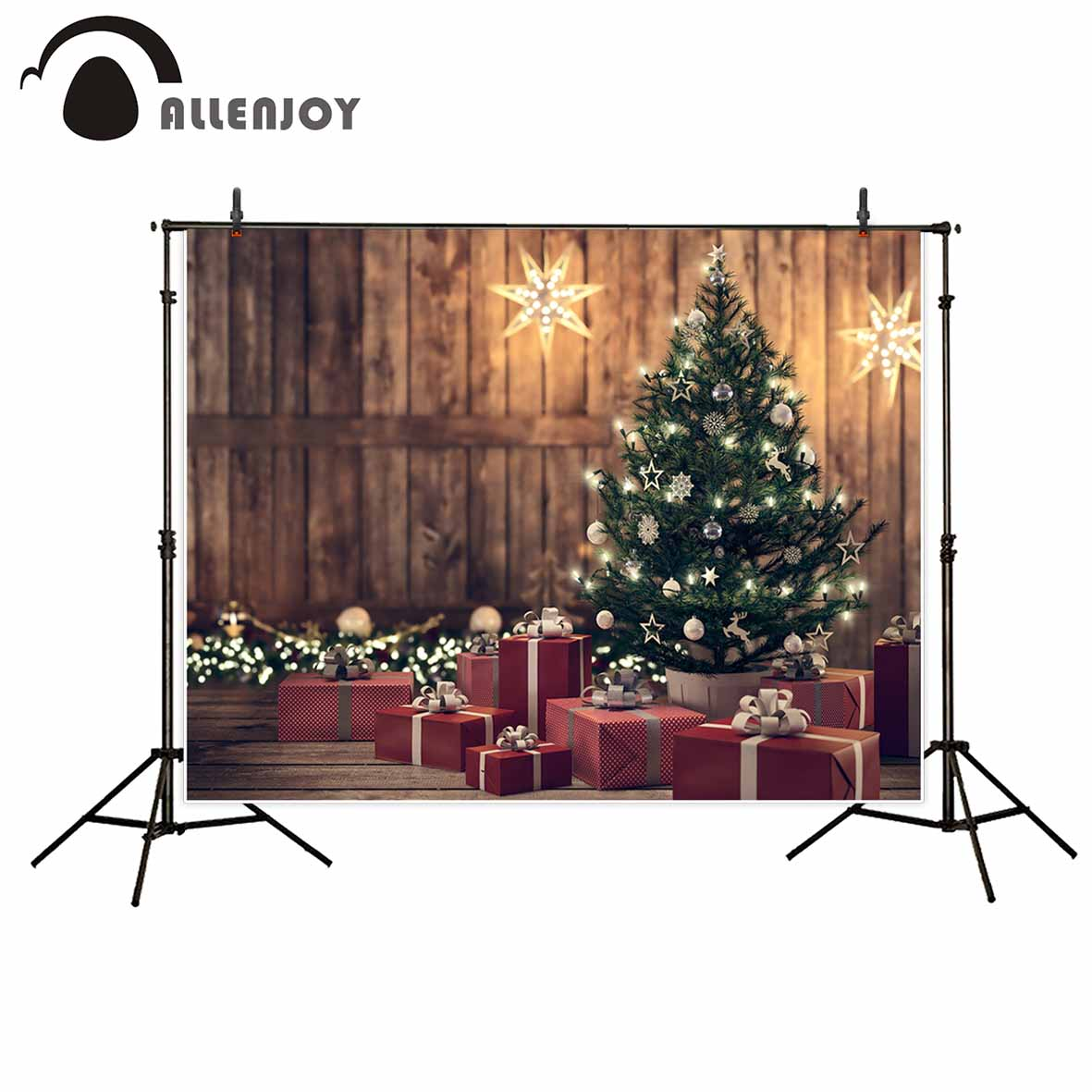 Allenjoy photography backdrops Christmas wood tree glitter vintage background photobooth photo studio photocall allenjoy photography background winter small town snow tree mountain natual backdrops photo studio professional photocall