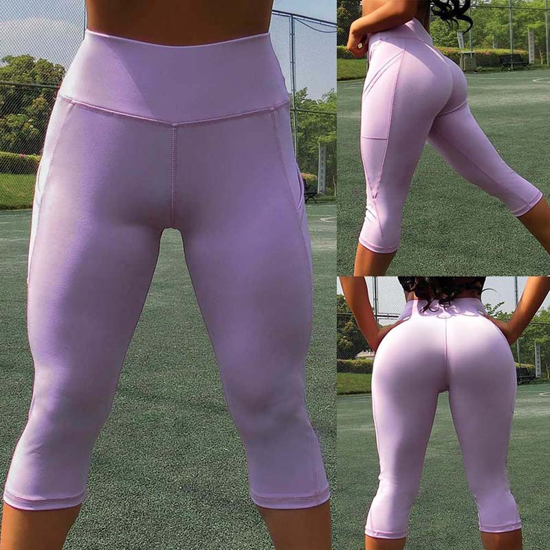 High Waist  Hip Sexy Tight  Cropped Pants Women Gym Sport Leggings Push Up  Pants With  Pocket Sexy Workout Pants(China)