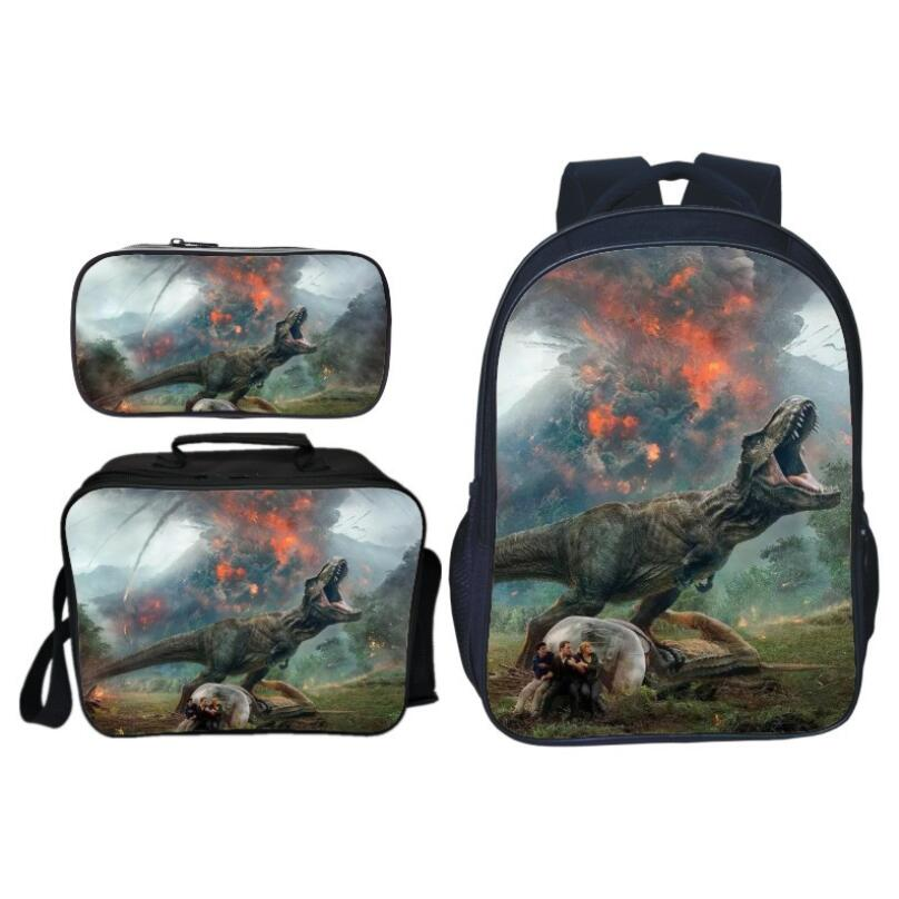 3Pcs Set Hot Sale Animal Printing Jurassic World Kids School Bags Dinosaur Boys Backpack for Children