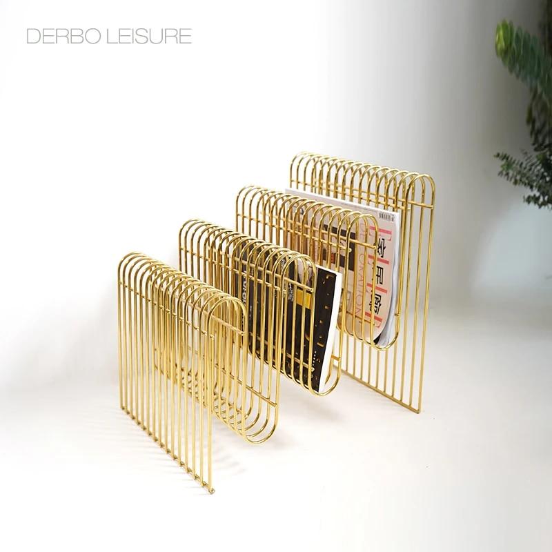 modern classic fashion design loft metal popular gold silver color luxury steel wire magazine rack book storage organizer 1pc
