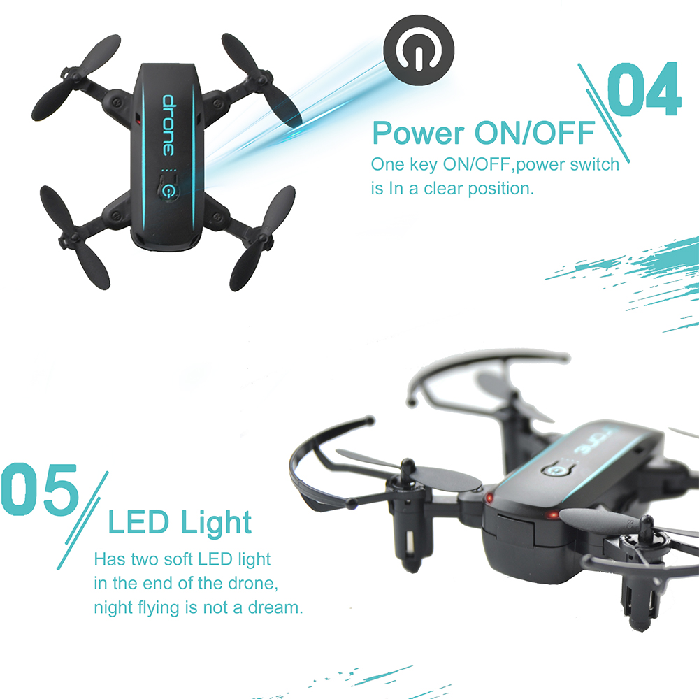Linxtech IN1601 480P 7P Mini RC Drone with Camera Wifi FPV Foldable Altitude Hold Quadcopter Remote Control Helicopter Toys 3