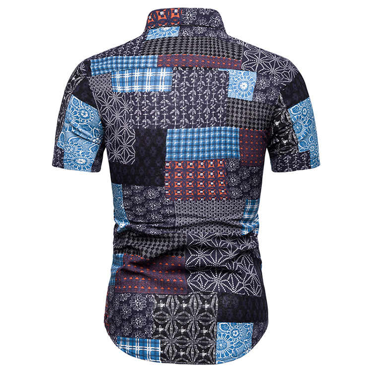 リネンシャツ男性花スプライシング半袖ブラウス男性社会シャツ男性プラスサイズハワイアンスタイルのファッション新しい Camisas