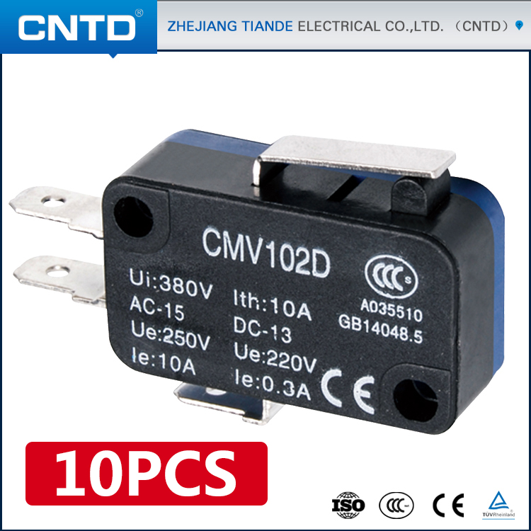 10PCS CNTD High Quality Reasonable Price 10A/16A/21A Available Short Shank Type 250V AC Micro Switch T105 5E4 (CMV-102D) 2pcs new 10pcs om micro switch v 105 1a4 t v 105 1a4 t industry industrial plc d