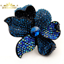 Luxury Antique AB Crystal Blossom Art Deco Oversize Blue Flower Brooches Full Micro Pave Blue Crystal Rose Pin Wedding Accessory