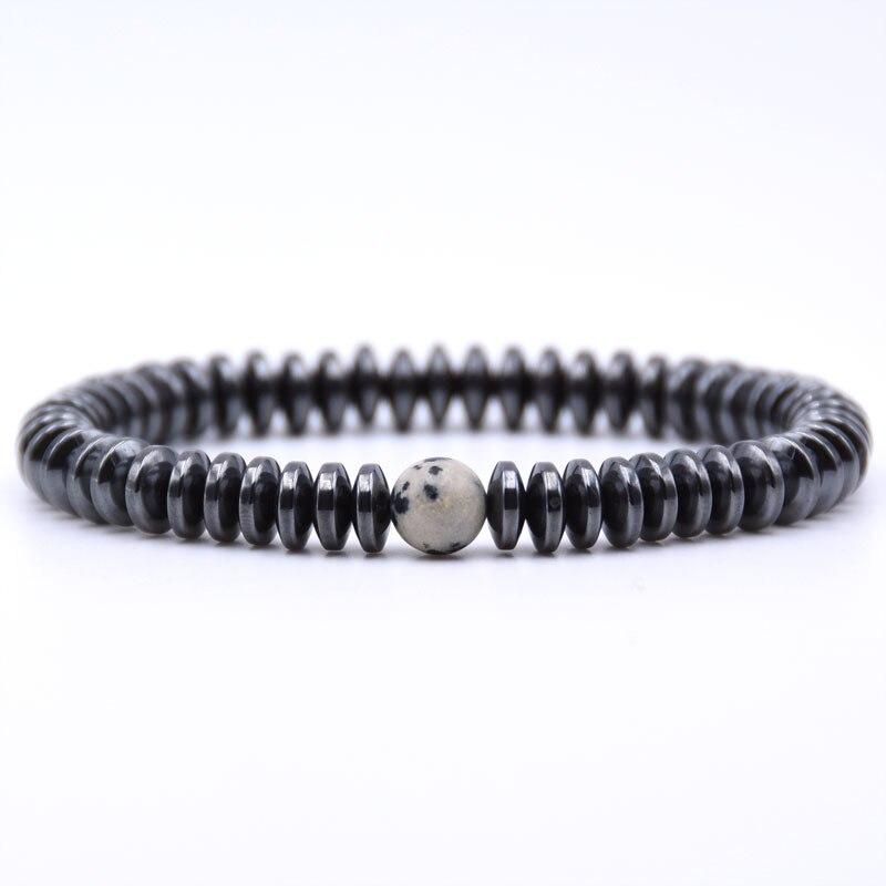 NIUYITID Hematite Bracelet Men\` Jewelry European Fashion Elastic Rope Braclet Women Accessories Charm High Quality (5)