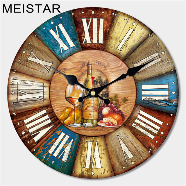 Bon MEISTAR Vintage Large Wooden Wall Clock Creative Silent Home Cafe Kitchen  Wall Clocks Watches Home Decor