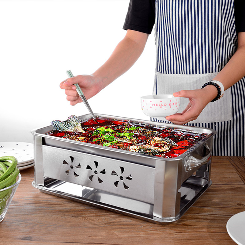 Stainless Steel Household And Commercial Double Using Fish Roaster Grill Charcoal Alcohol Grilled Fish Stove Grill 3 Size Availa