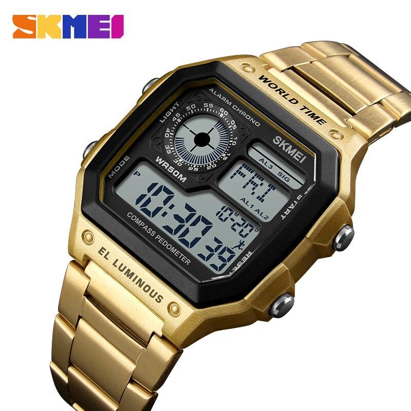Zk20 2019 hommes carrés montres numériques montres électroniques Reloj LED étanche boussole luxe en acier inoxydable montre 4 couleurs