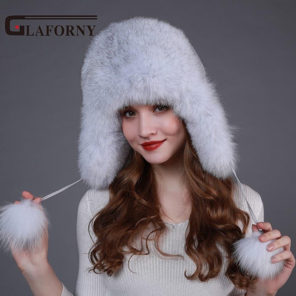 Glaforny 2017 Genuine Fox Fur Hats with Ear Flaps Women Winter Warm Raccoon Fur Bomber Hats