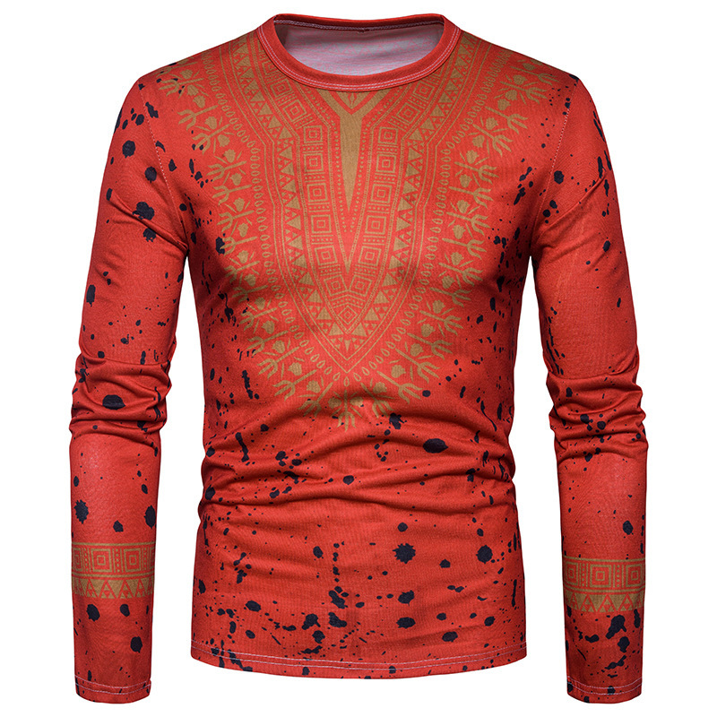 2018 Robe Africaine A New Product For Sale In The Spring And Autumn Of 2018. African National Costume Totem Printing T-shirt