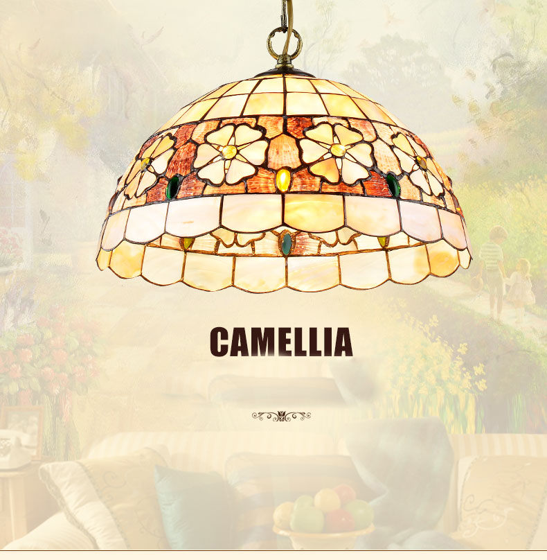 Mediterranean Style Tiffany Shell Ceiling Lamp 20/25/30/35/40cm E27 AC 110-240V LED Ceiling Lights Luminarias light fixture